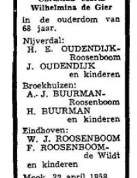 overlijdensadvertentie Peter Johannes Roosenboom